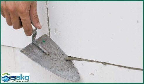 Xử lý mạch vữa xây gạch bê tông siêu nhẹ AAC