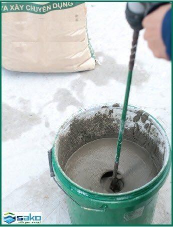Cách trộn vữa chuyên dụng xây gạch nhẹ AAC