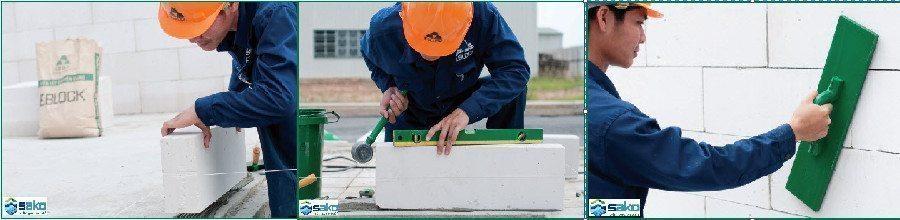 thi công gạch bê tông nhẹ AAC