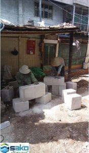 Cắt gạch siêu nhẹ AAC thủ công để xây nhà trọ