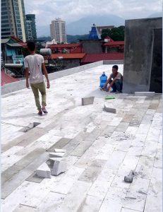 Xây gạch chống nóng siêu nhẹ trên mái bằng