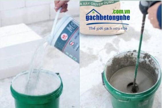 Cách trộn vữa chuyên dụng để xây gạch siêu nhẹ AAC