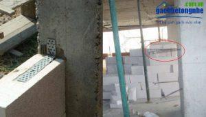 Liên kết giữa tường gạch siêu nhẹ và cột - dùng thép râu hoặc bát sắt