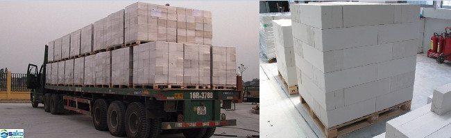Vận chuyển gạch bê tông siêu nhẹ AAC từ nhà máy tới công trình