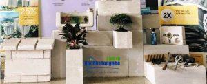 Gian trưng bày các mẫu gạch siêu nhẹ aac tại Vietbuild