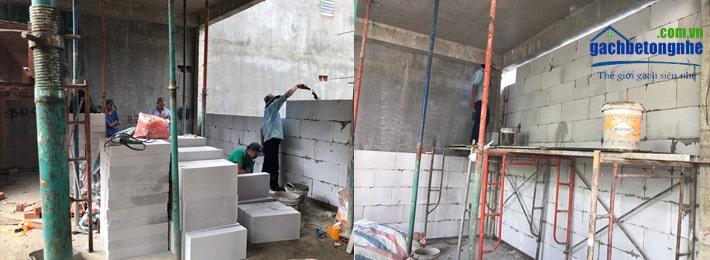 Trụ sở văng phòng đang xây bằng gạch bê tông nhẹ | gạch eblock