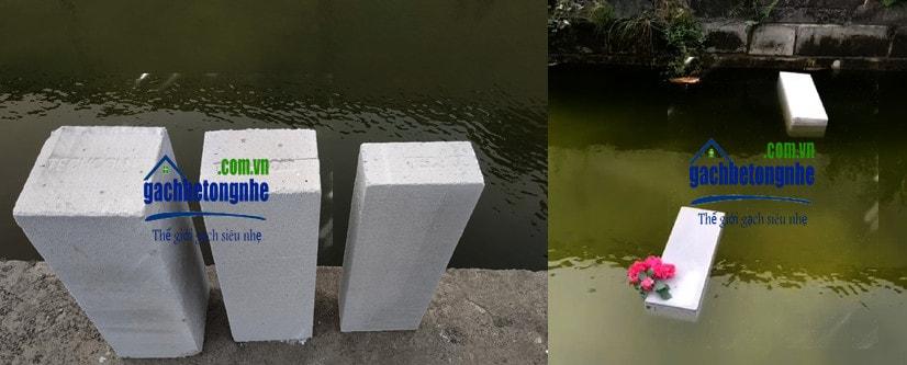 Gạch siêu nhẹ AAC nổi trên mặt nước