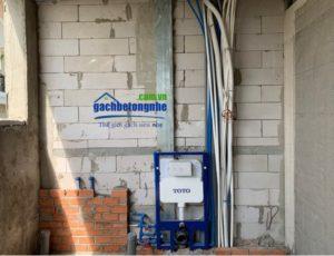 Lắp đặt đường nước tường gạch siêu nhẹ aac
