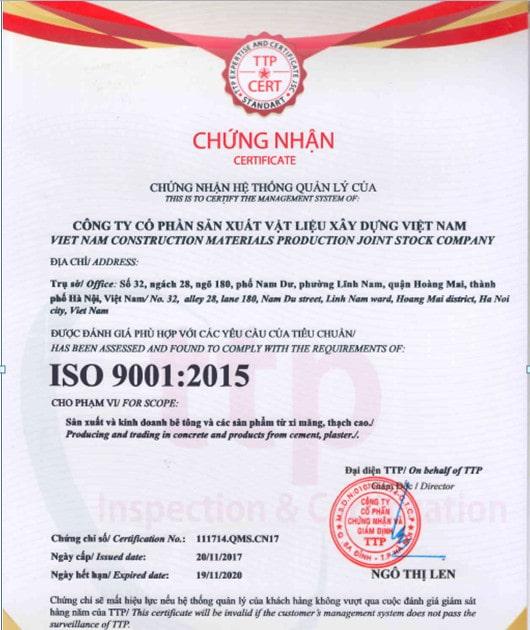 Chứng nhận ISO 9001:2015 Vữa xây gạch AAC
