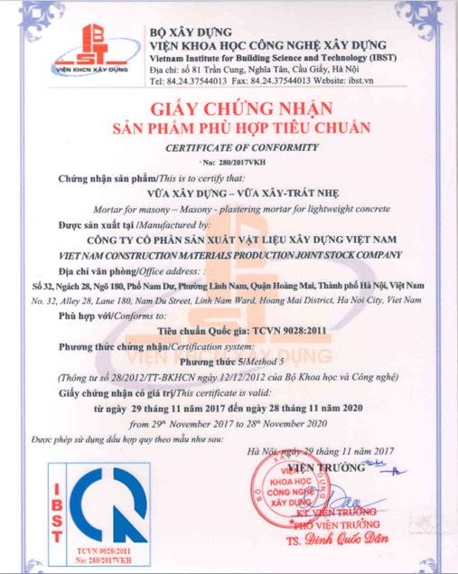 Tiêu chuẩn xây dựng TCVN 9028:2011 cho vữa xây trát gạch bê tông nhẹ
