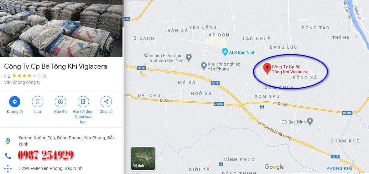 Bản đồ nhà máy gạch AAC Viglacera