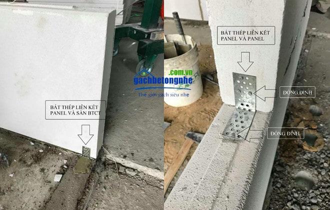 Thi công liên kết tấm panel bê tông khí ALC