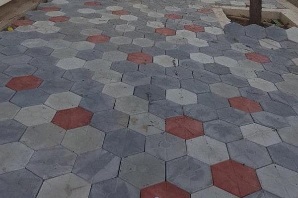 Gạch bê tông lát sân vườn hình lục giác