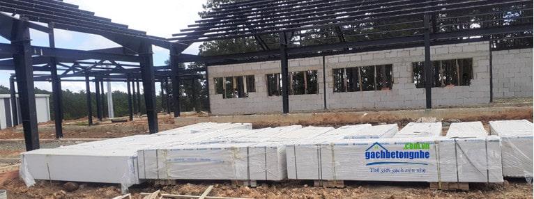 Công trình nhà thép tiền chế lắp tấm panel aac viglacera