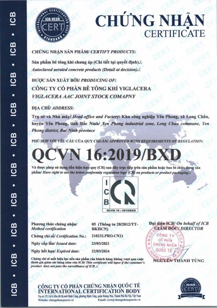 Chứng chỉ chất lượng gạch AAC , gạch siêu nhẹ SAKO Việt Nam