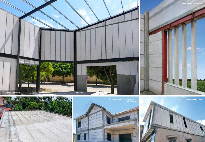 Công trình xây nhà bằng tấm 3D bê tông khí chưng áp
