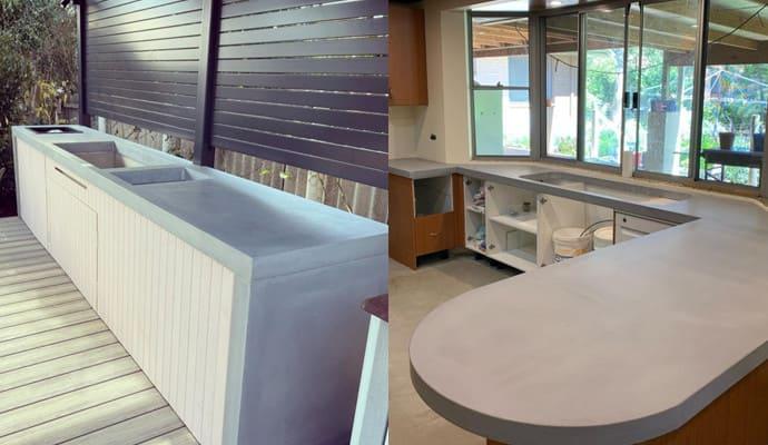 Bàn đảo bếp bằng tấm bê tông cốt sợi thủy tinh