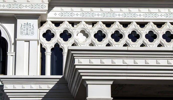 Kiến trúc bên ngoài với bê tông cốt sợi