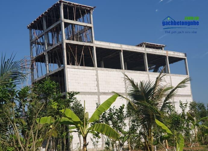 Công trình nhà xây bằng gạch siêu nhẹ aac Viglacera