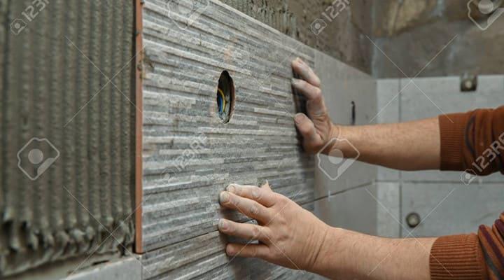 Dán gạch ốp tường hoàn thiện