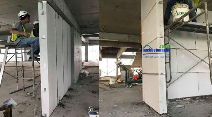 Lắp tấm panel bê tông nhẹ ở Nha Trang