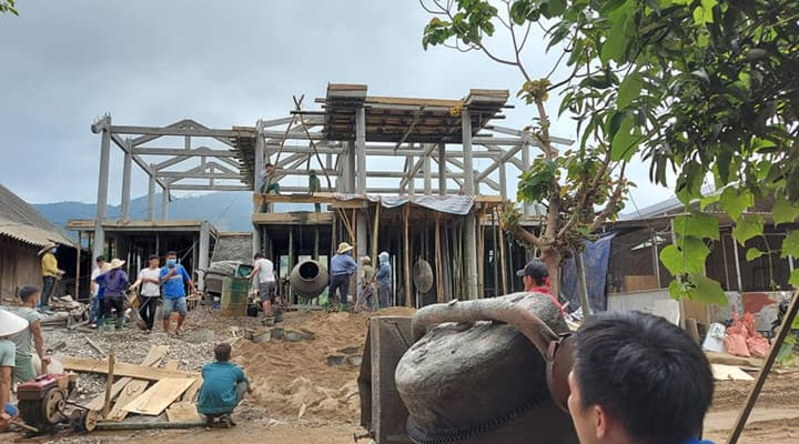 Xây nhà sàn bê tông ở Tuyên Quang