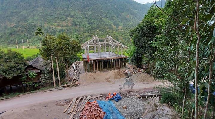 Xây nhà sàn bê tông ở Yên Bái