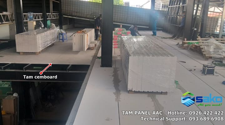 Xử lý sàn bê tông bị rung bằng tấm bê tông nhẹ ALC